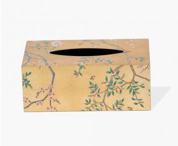 Rectangle Floral Tissue box cover light gold