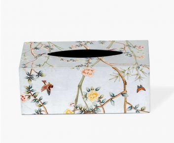 Rectangle Floral Tissue box Cover silver
