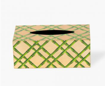 Rectangle Bamboo Tissue box cover light gold
