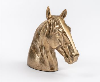 Gold Horse Face Sculpture For House Decoration 25x10x28cm