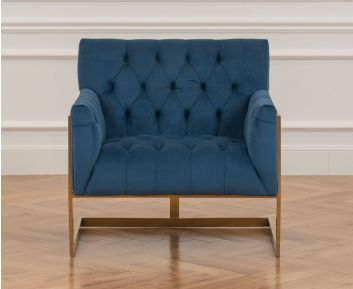 Danish One-Seater sofa in Blue for House Decoration