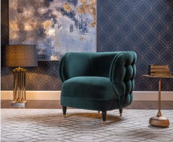 Enrico One-Seater sofa in Dark Green for House Decoration