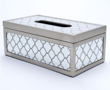 Printed Tissue Holder in Champagne Silver Colour