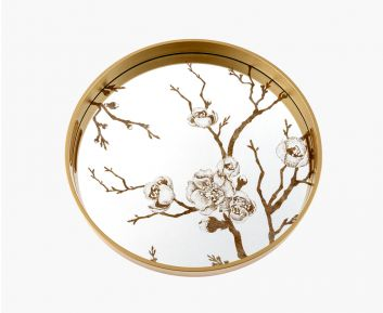 Aesthetic Round Gold Tray for House Decoration 45 x 45 x 4 cm