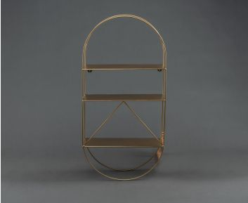 Wall Metal Shelf in Light-Gold colour For Modern Decor