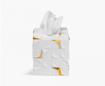 Zele Square Tissue Box White -gold